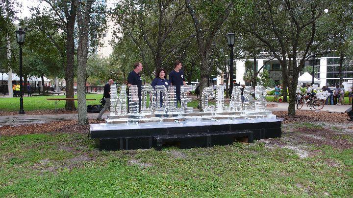 """Middle Class"" ice sculpture set up in Lykes Gaslight Park Sunday."