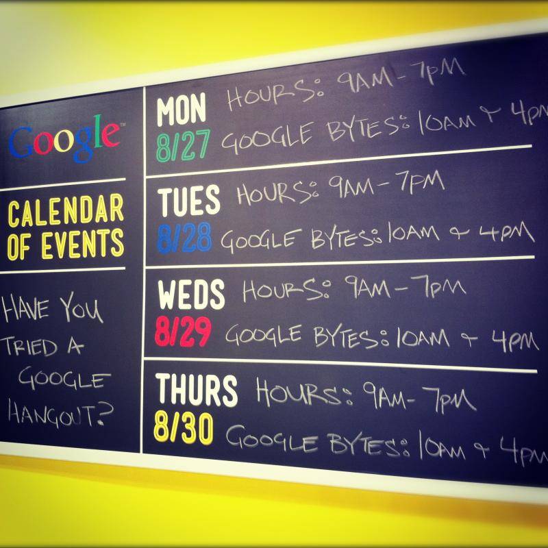 The Google Lounge hours and events on display.