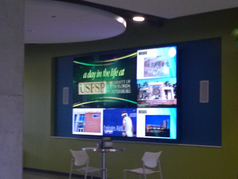 Video wall in cafeteria/lobby of the University Student Center