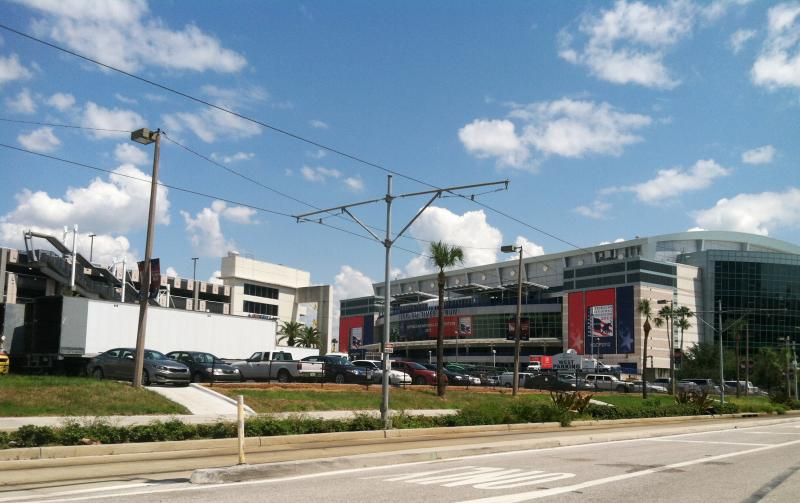 Trucks removing equipment from Tampa Bay Times Forum