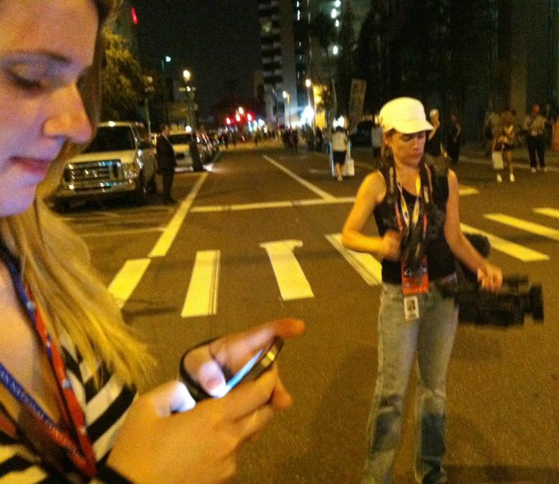 The Convention Today producer Annie Stephens and videographer/reporter Sarah Pusateri at an RNC protest