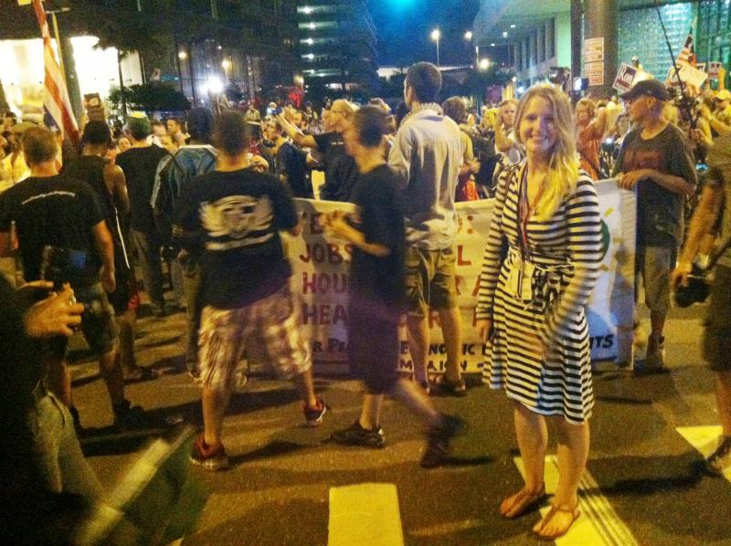 The Convention Today producer Annie Stephens at an RNC protest