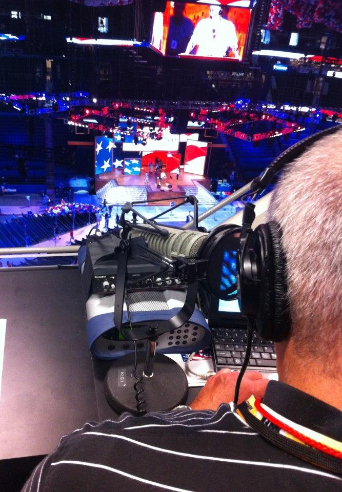 Host Craig Kopp broadcasts The Convention Today from inside the Tampa Bay Times Forum