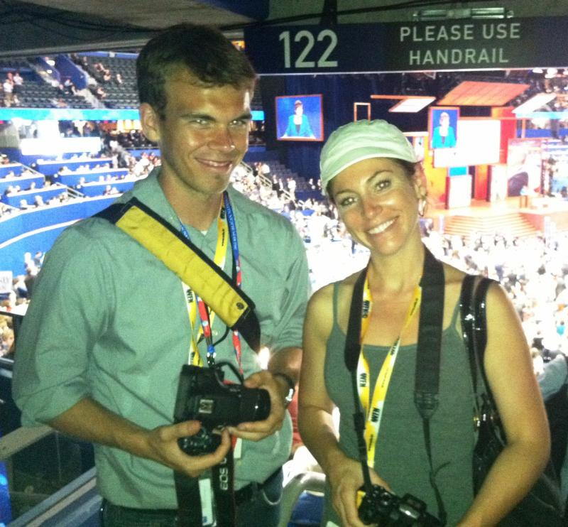 Reporters/videographers Eric Mennel and Sarah Pusateri inside the Tampa Bay Times Forum