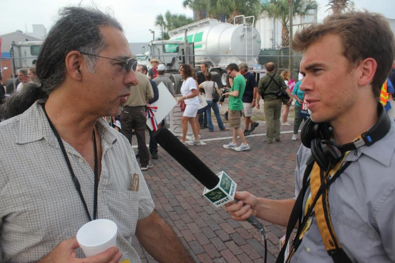 "Protest/Security reporters Eric Mennel and Steve Newborn in an ""interview"""