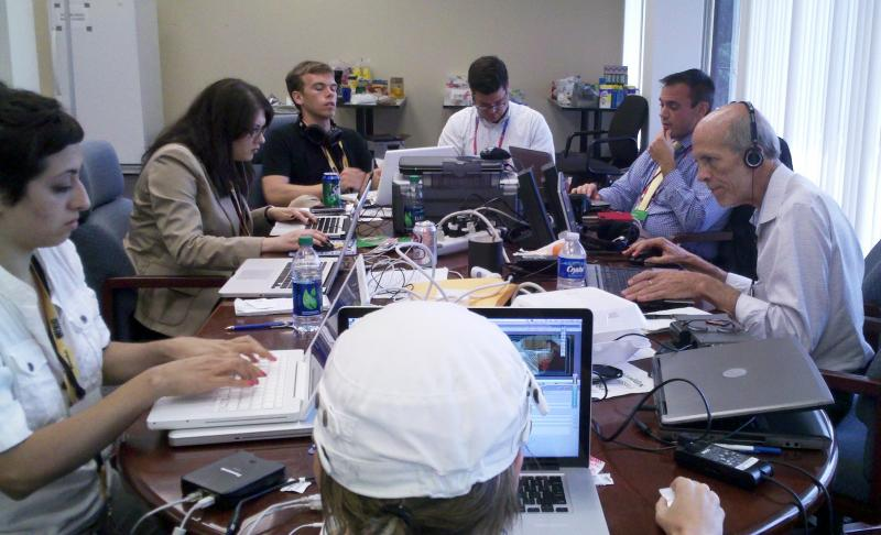 WUSF News' RNC staff works at the temporary headquarters at the Tampa Tribune