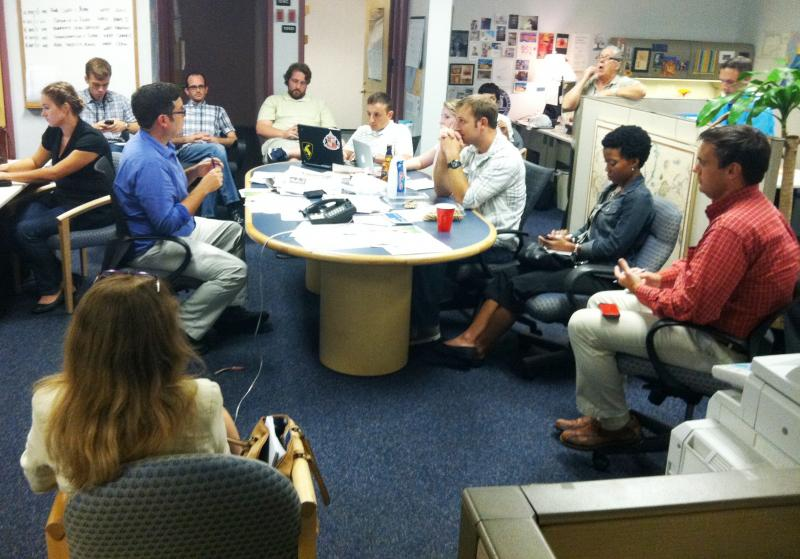WUSF News' RNC staff meets in August 2012 before the Convention