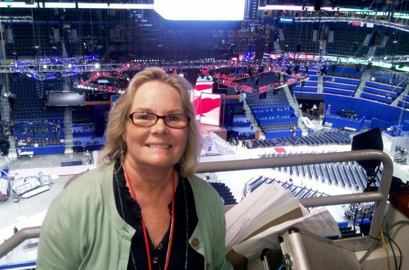 WUSF Program Director Sheila Rue inside the Tampa Bay Times Forum
