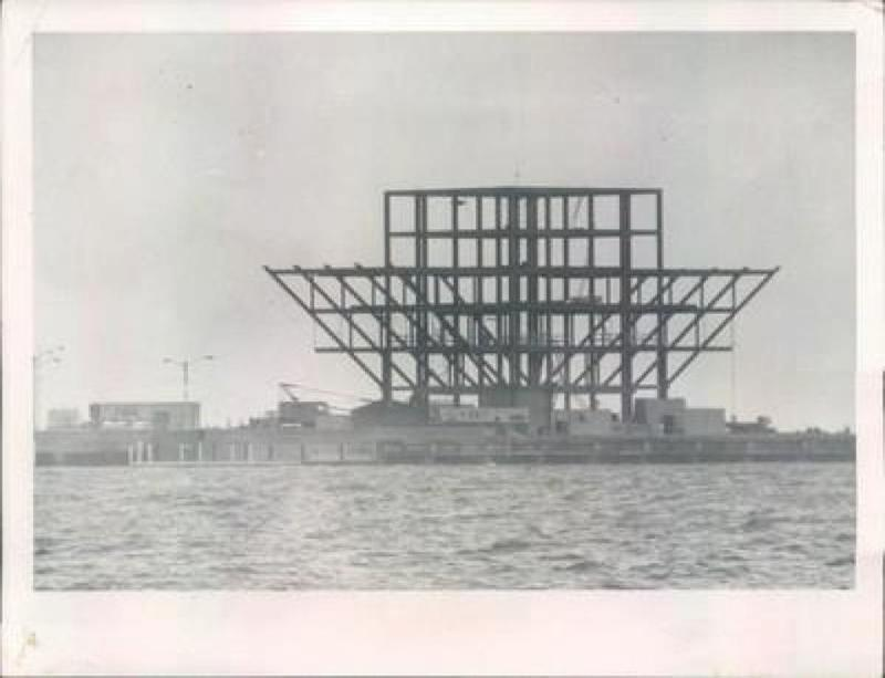 Photo of the current pier under construction in the early 1970's