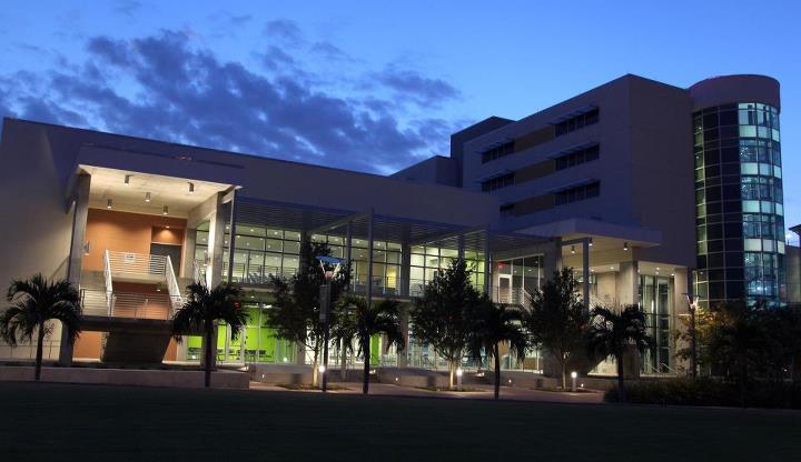USF St. Petersburg's new University Student Center at night