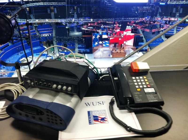 WUSF's booth at the Tampa Bay Times Forum.