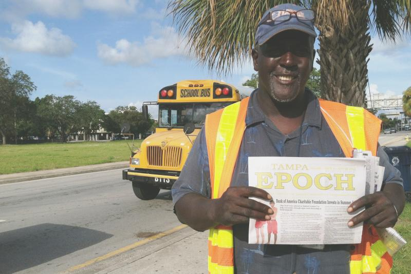Michael Gentry, a homeless vendor of the Epoch newspaper.