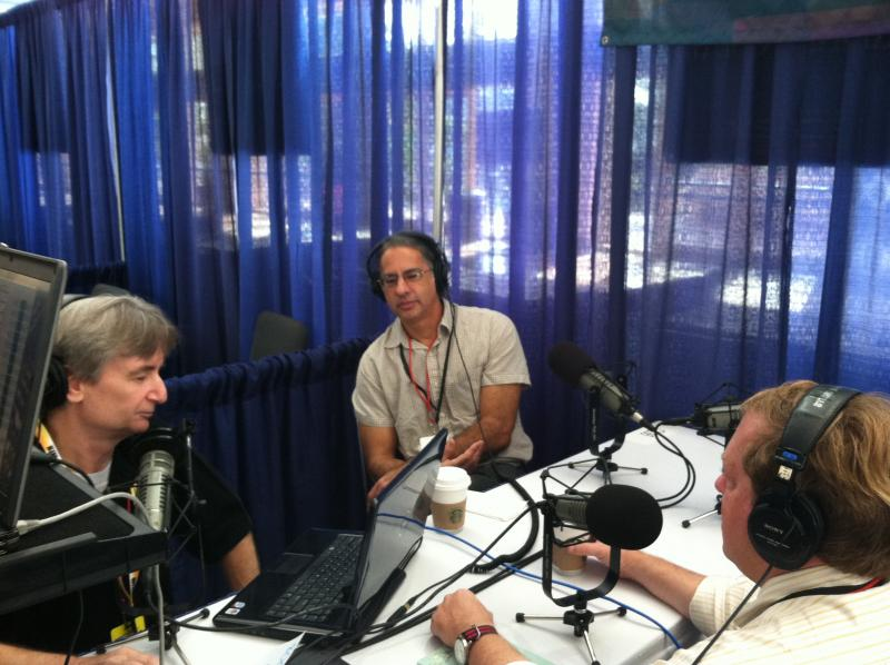 'Florida Matters' host Carson Cooper, left, chats with WUSF reporter Steve Newborn and Tampa Bay Times political editor Adam C. Smith.
