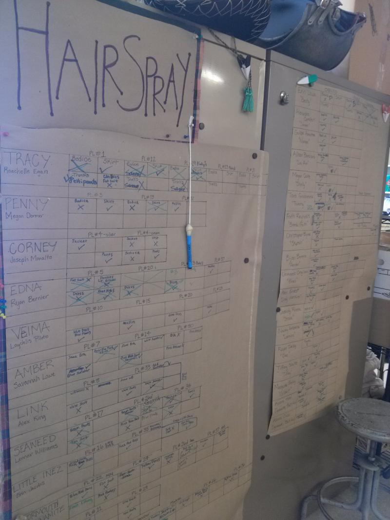 A board tracks the progress of the different costumes for each character in Hairspray.