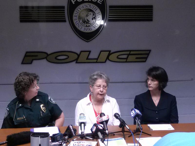 Lt. Charlotte Domingo, USF Police; Nanci Newton, director of the USF Center for Victim Advocacy &  Violence Prevention; and Ana Hernandez, Dean of housing and residential education, speak at a news conference Tuesday.