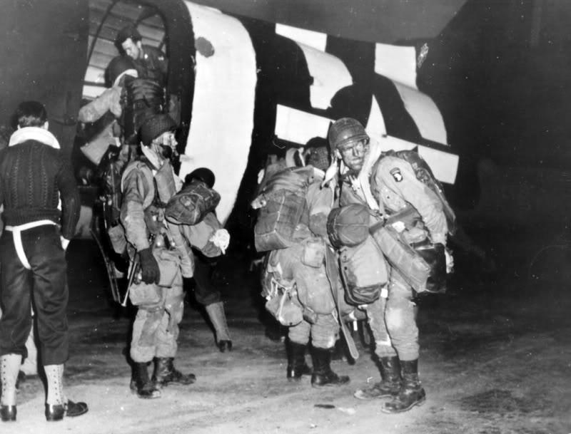Sometime in the evening of June 5, 1944, 101st Airborne paratroopers board their C-47 transport before their jump into Normandy. Capt. Sam Gibbons of the 501st carried some non-issue items along.
