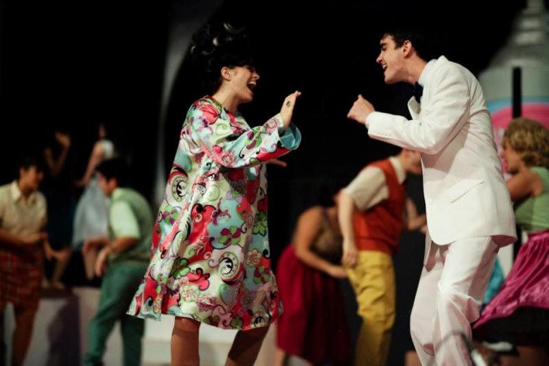Raechelle Egan as Tracy Turnblad and Alex King as Link Larkin