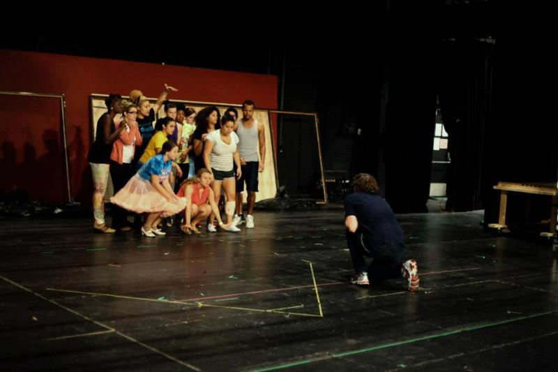 "Director/choreographer Andy Frye talks to the chorus about the number ""Without Love."""