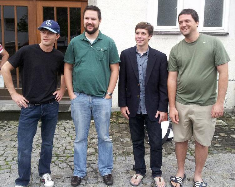 USF Physics Students Aaron Landerville (left), Joseph Fogarty and Evan Lafalce (far right) with Georgia Tech's Robert Parrish (dark green shirt) in Lindau, Germany