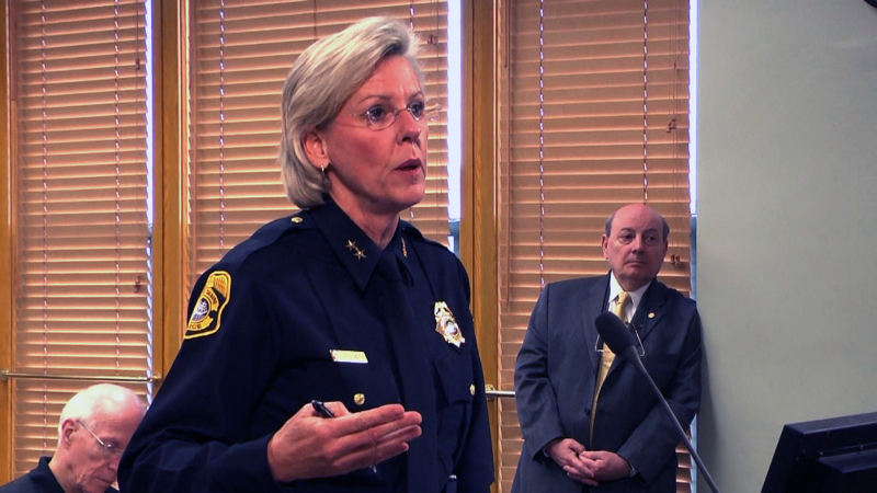 Tampa police chief Jane Castor makes a case for keeping the surveillance cameras downtown in a Tampa City Council meeting on Thursday.
