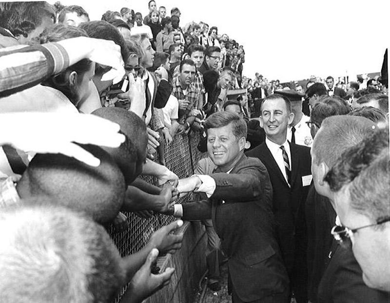 President John F. Kennedy, flanked by Congressman Sam Gibbons, arrives in Tampa, Nov. 18, 1963. Gibbons served for many decades in the U.S. House of Representatives before retiring.