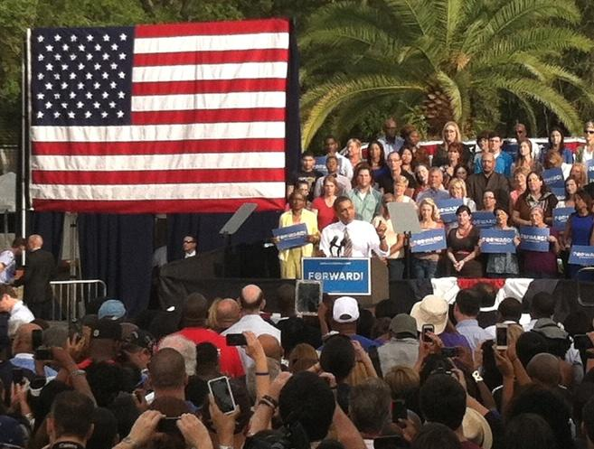 President Obama speaks in Centennial Park in Ybor City