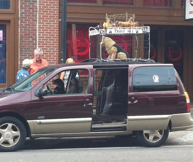 A spoof on Mitt Romney's rooftop dog carrier - look who's driving the car!