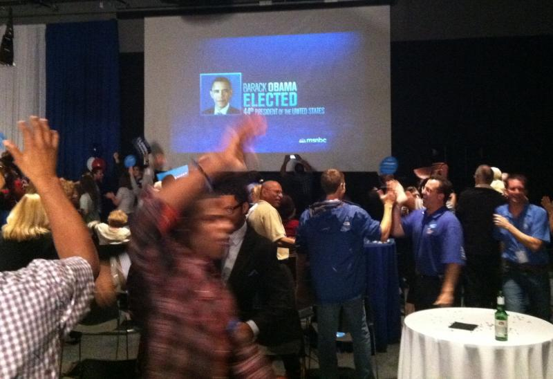 Crowd goes wild as President Obama's re-election is announced