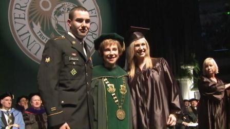 U.S. Army Spec. Taylor Livingston, USF President Judy Genshaft & USF grad Cassie Ladika