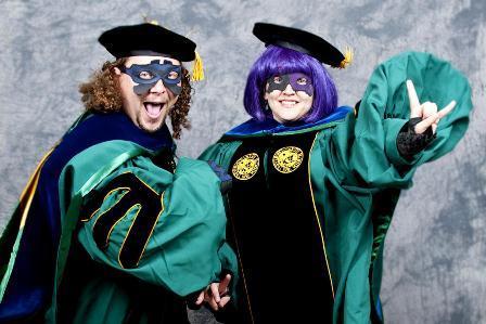 "Superheroes/PhD students Sam ""Megabyte"" DuPont & Audrey ""Sublimation"" Buttice"