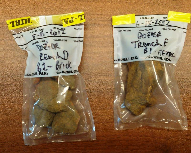 Soil samples from Boot Hill Cemetery trenches
