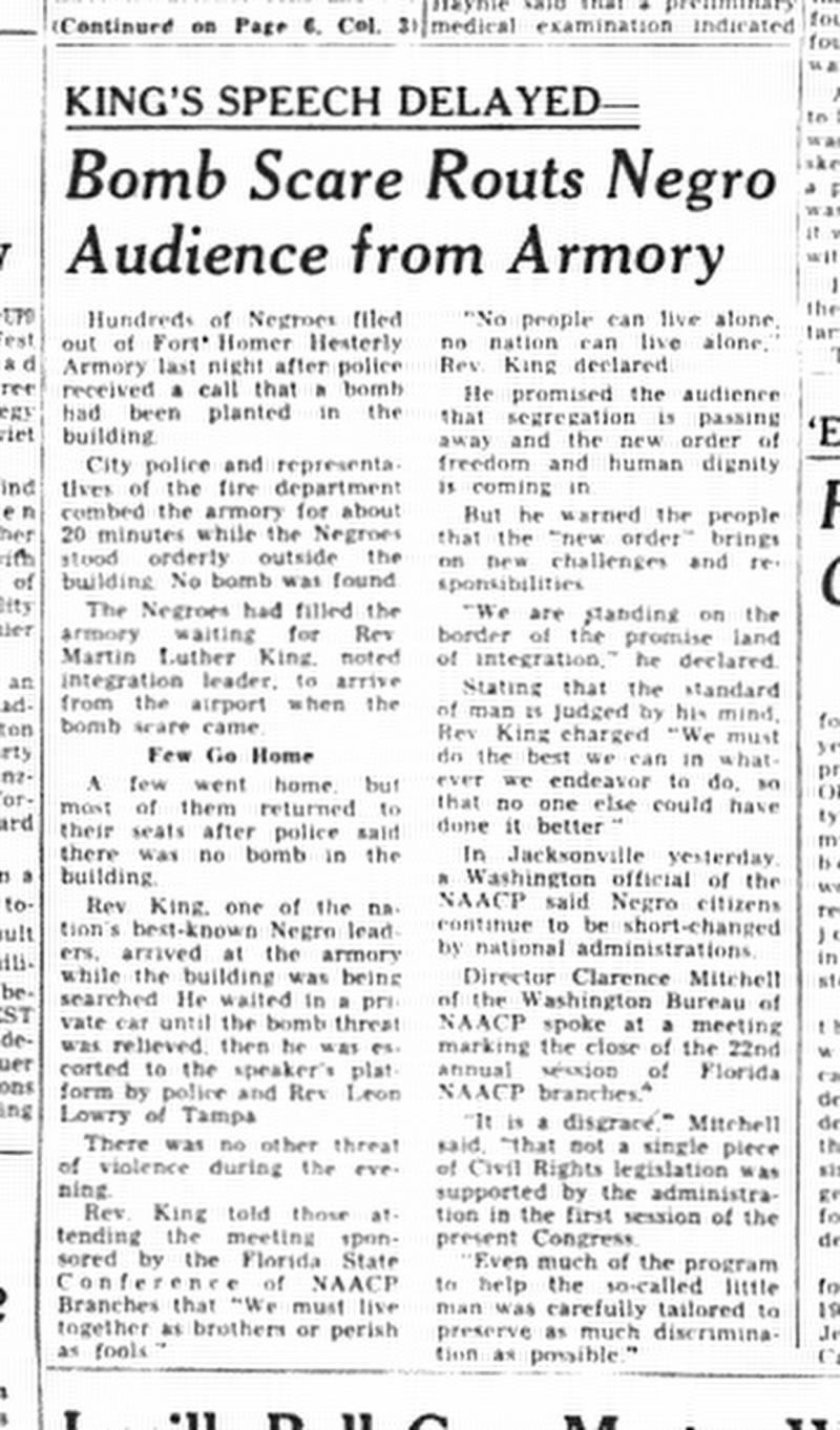 An article from the Tampa Tribune dated Nov. 20, 1961.