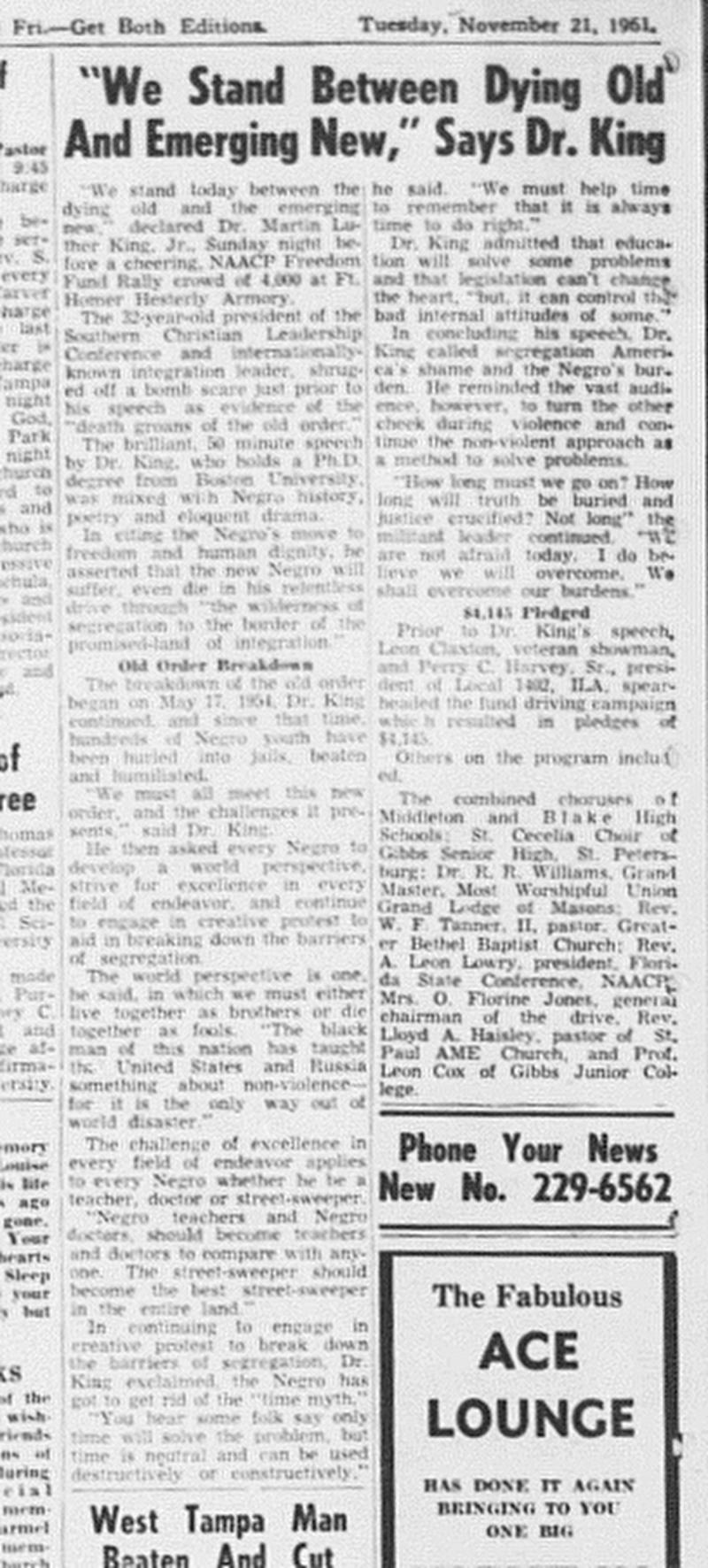 An article from the Florida Sentinel Bulletin dated Nov. 21, 1961.