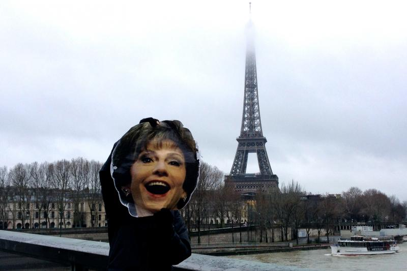 USF President Judy Genshaft's likeness visits the Eiffel Tower