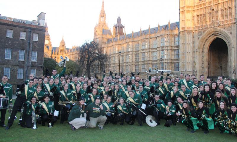 USF Herd of Thunder poses after the London's New Year's Day Parade