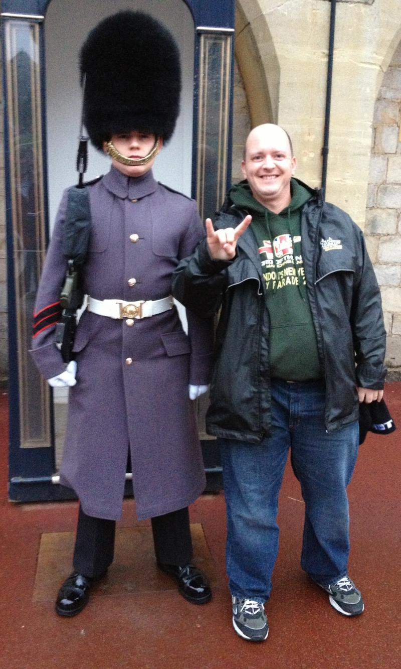 USF HOT administrator Jason Bombaugh makes a new friend