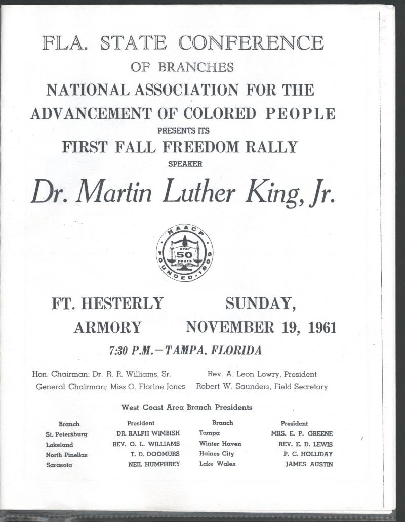 A copy of the program from Dr. King's appearance at the armory.