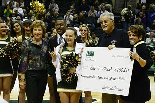 USF President Judy Genshaft & James & Sylvia Martinez award Bickel her 3,2,1 Launch Scholarship