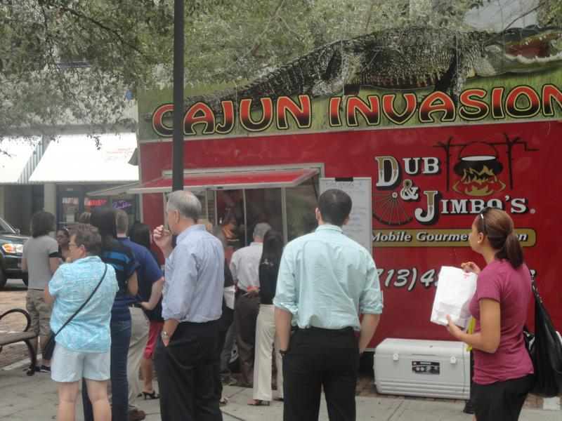 Cajun Invasion was a popular destination during the Food Truck Fiesta (Don't worry, thats not a real gator).