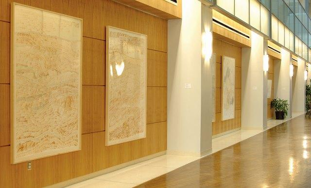 "Megan Hildebrandt's ""Counting Radiation"" drawings on display in Moffitt Stabilie Research lobby"