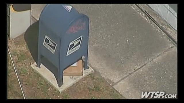 Helicopter photo of suspicious box that caused shut down of So. Dale Mabry Hwy. late Tuesday morning.