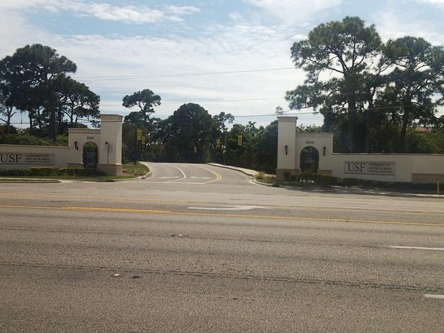 The seven lanes of U.S. Highway 41 in front of the main entrance for the USF Sarasota-Manatee campus