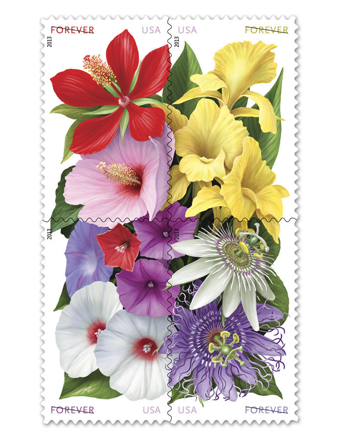 "The ""La Florida (Forever)"" stamps feature hibiscus, cannas, morning glories and passionflowers."