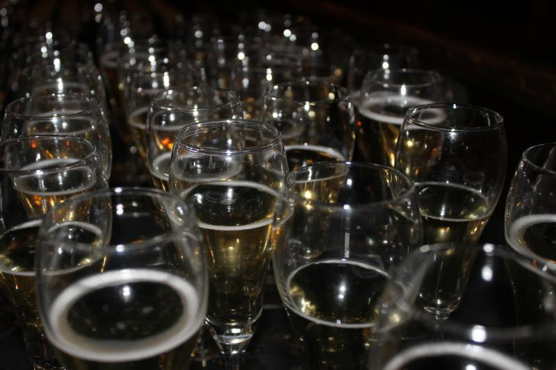 At a private pre-screening event, donors enjoyed complimentary champagne.