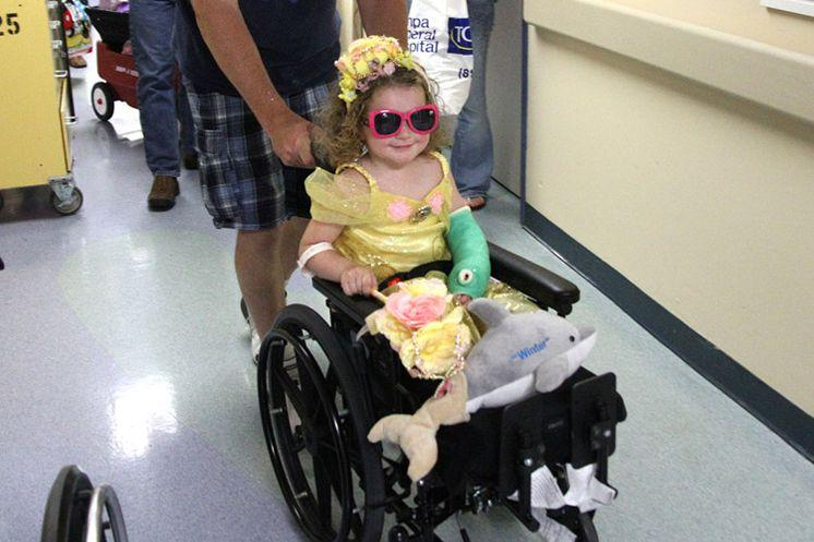 Ireland Nugent leaves Tampa General Hospital, where she was treated for a month after losing both her legs in a lawn mower accident