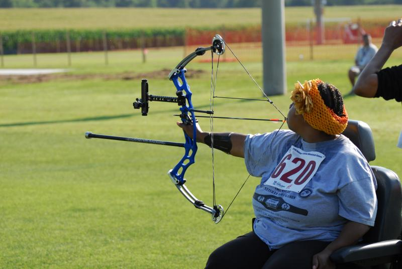 Babette Peyton, U.S. Army Veteran at the archery event at the 32nd National Veterans Wheelchair Games.