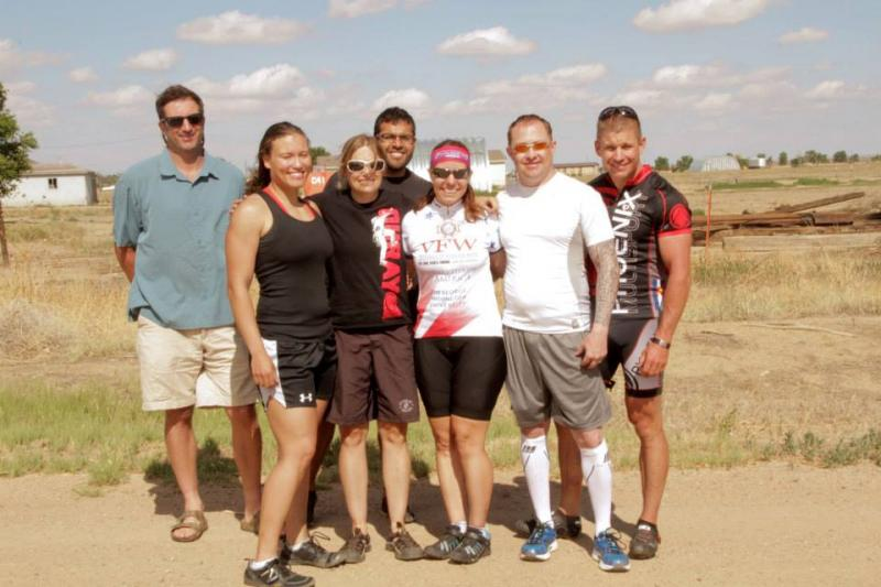 Student veterans met up with Downs in Pueblo, CO to join her for the day's ride of 62 miles.