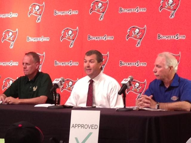 USF Director of Intercollegiate Athletics Doug Woolard (left), Tampa Bay Buccaneers COO Brian Ford (center), Tampa Sports Authority CEO Eric Hart (right).