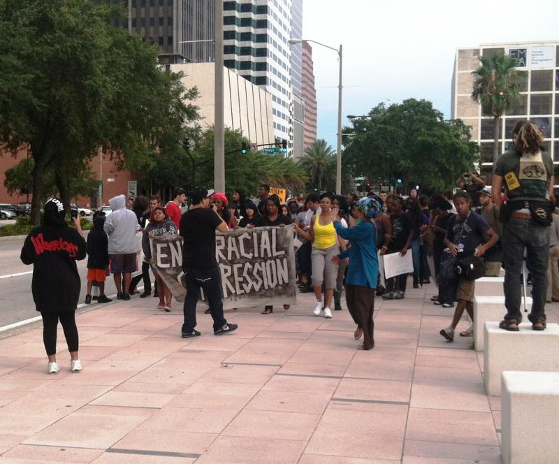 Crowd gathers for a march to the U.S. Federal Courthouse