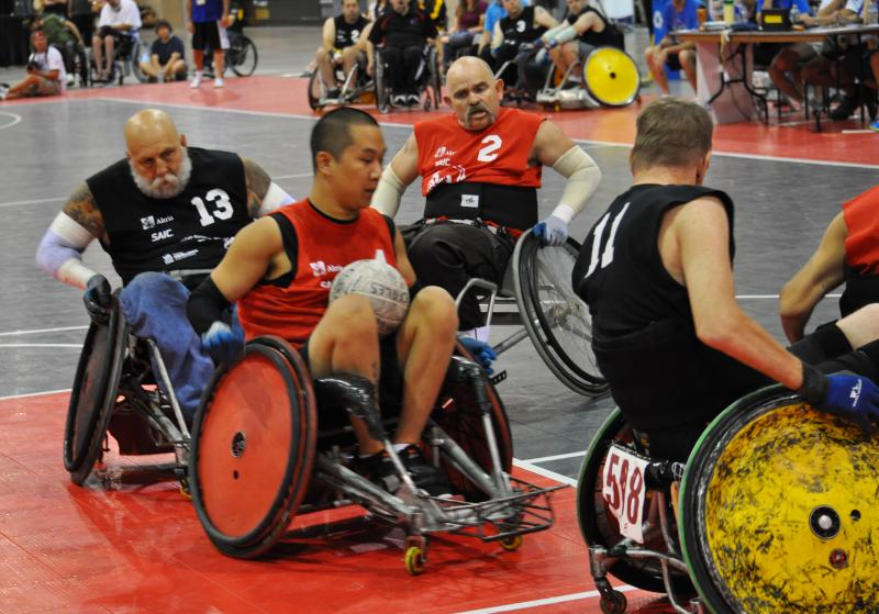 Veterans play quad rugby at the 32nd National Veterans Wheelchair Games.